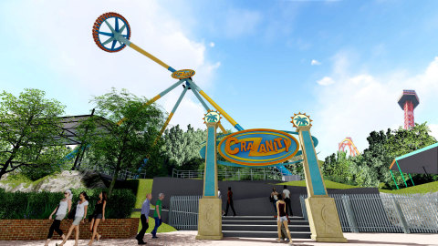 """Six Flags Magic Mountain, the undisputed """"Thrill Capital of the World,"""" debuts CraZanity, the world's largest pendulum ride in 2018.(Photo: Business Wire)"""