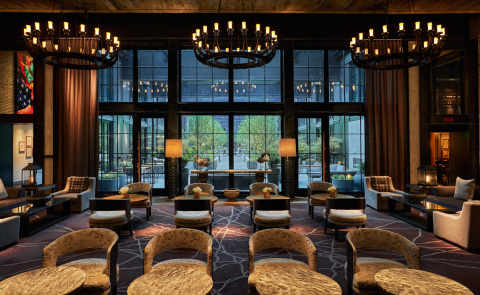 Royal Contract Lighting created 55 custom lighting fixtures, 120 pendant lights, and numerous floor and table lamps for the new Sagamore Pendry Baltimore luxury hotel. The three 6' wide, dark bronze and opal matte-glass chandeliers produced for the Lobby Bar evoke wrought-iron candelabras of yesteryear. (Photo: Business Wire)