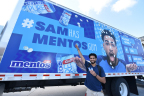Mentos Gum and Snapchat-star, Sara Hopkins surprised incoming University of Wisconsin freshman Sam Jeschke with a challenge of a lifetime on Wednesday, August 30 in Madison, Wisconsin. Jeschke has until the first day of class (on Wednesday, September 6) to share 43,000 bottles of Mentos Gum enough for the entire student body to earn a free DJ Khaled concert for his classmates and a year of tuition for himself. Follow along at SamHasMentosGum.com. (Photo by Daniel Boczarski/Getty Images for Mentos Gum)