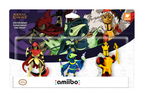 By tapping three new amiibo figures* based on King Knight, Plague Knight and Specter Knight while playing Shovel Knight, players can unlock exclusive armor sets, new challenge stages and the ability to summon fairy companions to accompany players on quests. (Photo: Business Wire)