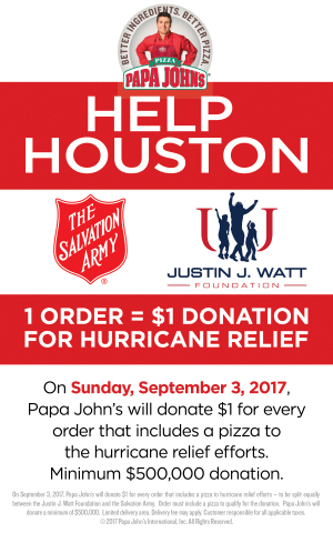 Papa John's has committed to donate a minimum of $500,000 to relief for victims of Hurricane Harvey. (Graphic: Business Wire)