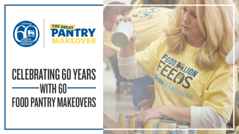"Honoring 60 Pantries for 60 Years: Food Lion Feeds Expands ""The Great Pantry Makeover"" in Campaign's Third Year; Grocer to Donate More Than 2.5 Million Meals and 2,000 Associate Volunteer Hours Across 10-State Footprint (Photo: Business Wire)"