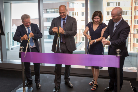 Natixis Global Asset Management welcomed associates to the firm's new Boston offices. Pictured: CEO Jean Raby, CEO for the US & Canada David Giunta, CFO Beatriz Pina Smith, and SVP Rob Lyons. (Photo: Business Wire)