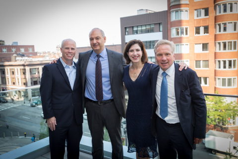 Natixis Global Asset Management CEO Jean Raby (right) and David Giunta, CEO for the US & Canada (second right) welcomed associates to the firm's new Boston offices. Joining Raby and Giunta are Beatriz Pina Smith, CFO, and Rob Lyons, SVP. (Photo: Business Wire)