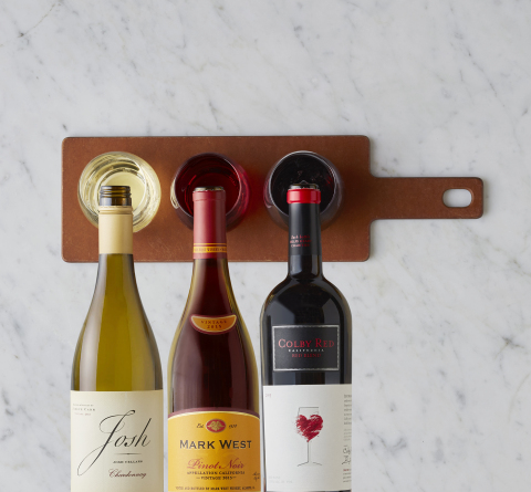 Take a tableside tour of California's famed vineyards with CPK's California Wine Month wine flight featuring the distinct tastes of Josh Cellars Chardonnay, Colby Red Blend and Mark West Pinot Noir. Photo courtesy of California Pizza Kitchen and Waterbury Publications