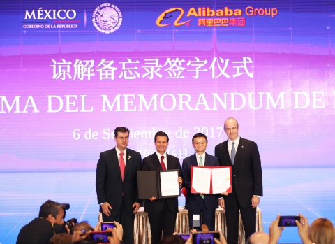 Mexico's President Enrique Peña Nieto and Alibaba Group Executive Chairman Jack Ma witness the signing of a Memorandum of Understanding between Alibaba Group and Mexican government to help Mexican small and medium-sized businesses reach China, the largest consumer market in the world. (Photo: Business Wire)