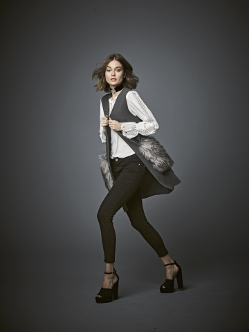 Get ready for fall with amazing fashion from Macy's. KOBI vest, $149; lace-trimmed V-neck blouse, $99; available at select Macy's stores and on macys.com. (Photo: Business Wire)