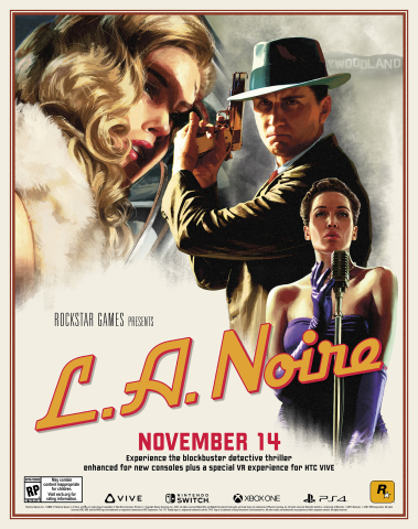 New versions of the blockbuster detective thriller, L.A. Noire, are scheduled to release on November 14, 2017 for the Nintendo Switch™ system, PlayStation®4 computer entertainment systems and for Xbox One games and entertainment systems. Alongside these three new console versions comes LA Noire: The VR Case Files, featuring seven select cases from the original game rebuilt specifically for a virtual reality experience on the HTC VIVE™ system. (Photo:Business Wire)