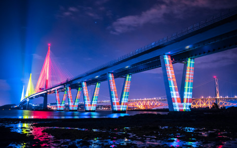 ©Transport Scotland. The Queensferry Crossing bridge is the longest three tower cable-stay bridge in the world. (Photo: Business Wire)