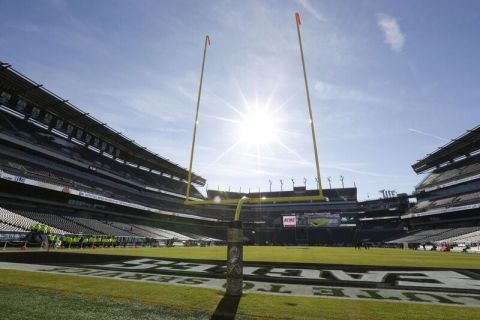 Axalta's Alesta Polyester Architectural AE Gloss RAL 1016 in Sulfur Yellow the color and product of choice for the Eagles' goal posts due to its high-performance coverage, durability, and functionality. (Photo: Axalta)