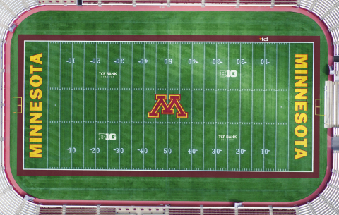 Full-field view of the TCF Bank Stadium field mark now on the playing field at the University of Min ...