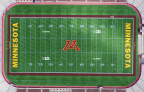 Full-field view of the TCF Bank Stadium field mark now on the playing field at the University of Minnesota's TCF Bank Stadium. (Graphic: TCF Financial Corporation)