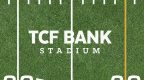 Close-up view of the TCF Bank Stadium field mark now on the playing field at the University of Minnesota's TCF Bank Stadium. (Graphic: TCF Financial Corporation)