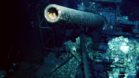 One of the five-inch 25 caliber anti-aircraft gun mounts from the USS Indianapolis. Credit: Courtesy of Paul G. Allen