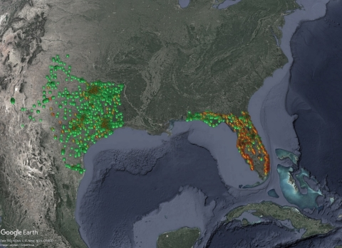GasBuddy Gas Station Outages Data Visualization (Graphic: Business Wire)