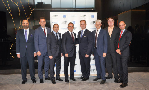 The First Group's Co-founder, Danny Lubert (centre) and Wyndham Regional VP MENA, Ignace Bauwens attend the ribbon-cutting ceremony for TRYP by Wyndham Dubai (Photo: AETOS Wire)