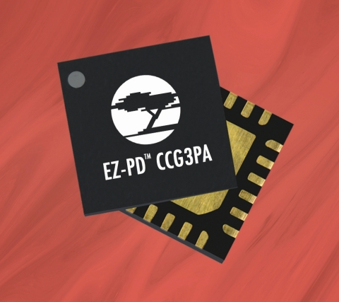 Pictured is Cypress' EZ-PD CCG3PA USB-C controller. (Photo: Business Wire)