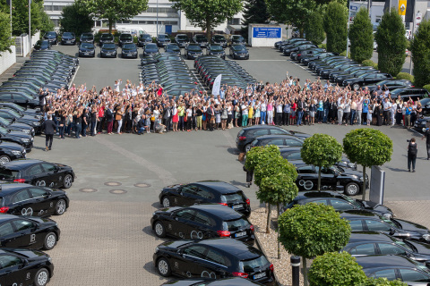 Big car handover 2016 in Ahlen: 200 Mercedes Benz A-class cars are handed over to LR sales partners. LR/Erk Wibberg