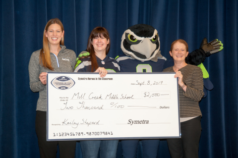 Seattle Seahawks mascot Blitz and representatives from the Seahawks and Symetra helped honor teacher Kailey Shepard (2nd left) as a 2017 Symetra Hero in the Classroom. Shepard teaches social studies at Mill Creek Middle School in Kent, Washington. (Photo: Business Wire)