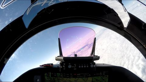 BAE Systems' LiteHUD® head-up display presents flight-critical information directly in a pilot's line of sight, without obstructing views of the outside world. (Photo: BAE Systems)
