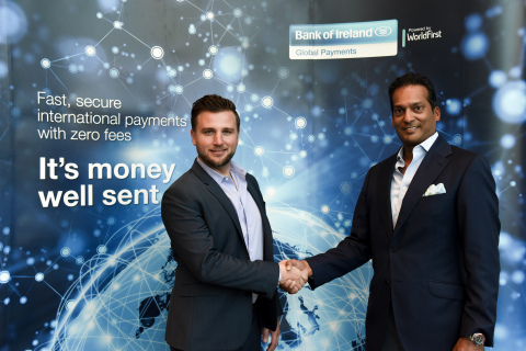 Alex Arnold (left), Global Head of Partnerships for WorldFirst, and Darsh Mariyappa (right), Head of Bank of Ireland Global Markets U.S., launch new foreign exchange and international payments service, Bank of Ireland Global Payments. (Photo: Bank of Ireland)
