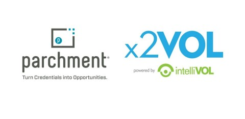 x2VOL Launches Official Service Transcript™ Available via Parchment: Authenticated Digital Community Service and Service Learning Transcripts Delivered to Colleges and Universities (Graphic: Business Wire)