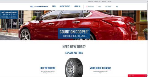 Cooper Tire's redesigned and relaunched consumer website offers enhanced digital tools, eliminates tire jargon and improves ease of navigation for users. (Photo: Business Wire)