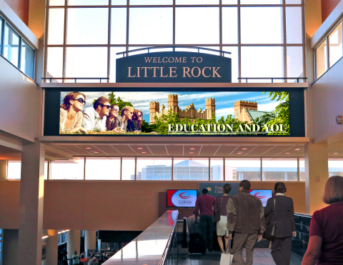 A new digital video wall is one of a number of media assets Clear Channel Airports will bring to advertisers at Bill and Hillary Clinton National Airport. (Photo: Business Wire)