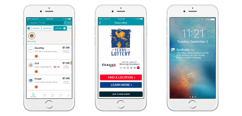 Left to right in the GasBuddy app: Filter by gas stations who sell lottery tickets, custom in-app state lottery page, and lottery push notifications. (Photo: Business Wire)
