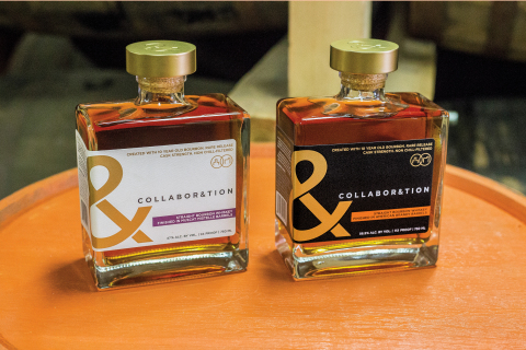 """The Bardstown Bourbon Company and Copper & Kings American Brandy Company announced today the release of """"Collabor&tion,"""" two distinct products made with 10-year-old straight bourbon whiskey – one finished in Copper & Kings' American Brandy barrels and the other in Muscat Mistelle barrels, for more than 18 months in the Copper & Kings basement maturation cellar. (Photo: Business Wire)"""