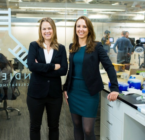 Prellis Biologics co-founders Dr. Noelle Mullin (left) and Dr. Melanie Matheu (right) are creating human tissue and organs using 3D printing and stem cell biology. (Photo: Business Wire)