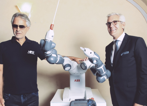 Andrea Bocelli, YuMi and ABB CEO Ulrich Spiesshofer before the concert (Photo: Business Wire)