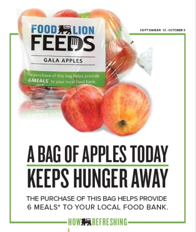 Food Lion Feeds Launches Specially-Marked Bagged Apples to Provide 1 Million Meals to Families in Need; For Every Bag Purchased In-Store Sept. 13 through Oct. 3, Grocer Will Donate Six Meals to Local Food Banks in Partnership with Feeding America® (Photo: Business Wire)