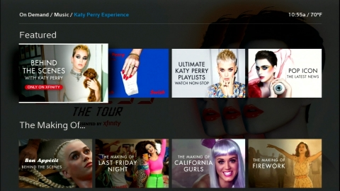 Comcast Unveils New Katy Perry Destination on Xfinity X1 (Photo: Business Wire)