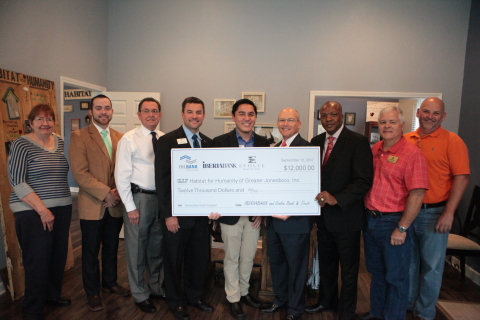 IBERIABANK, Evolve Bank and Trust and FHLB Dallas partnered to award $12,000 to Habitat for Humanity ...