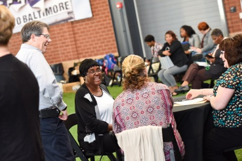 RISE Up participants interview with retailers at the NRF Foundation's hiring fair in Baltimore. (Pho ...