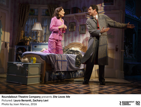 "Roundabout Theatre Company presents ""She Loves Me""; pictures Laura Benanti and Zachary Levi. Courtesy of Joan Marcus"