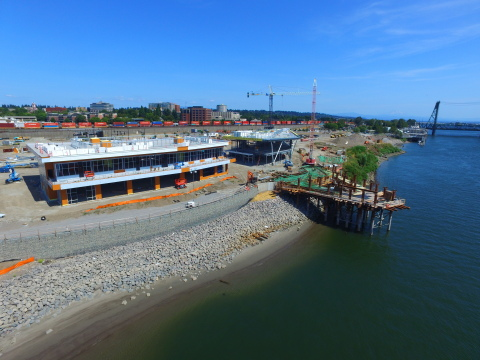 Current drone footage of The Waterfront Vancouver development from September 2017 in Vancouver, Wash. (Photo: Business Wire)