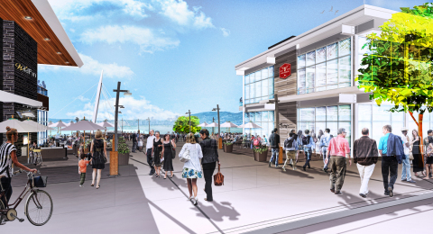 Rendering of the Grant Street Pier restaurant buildings located on Block 9 and Block 12 at The Waterfront Vancouver in Vancouver, Wash. (Graphic: Business Wire)