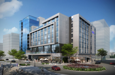 Rendering of Block 4, home to the Hotel Indigo and 40 boutique condominiums at The Waterfront Vancouver in Vancouver, Wash. (Graphic: Business Wire)