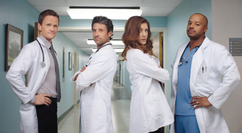 America's TV Doctors Neil Patrick Harris, Patrick Dempsey, Kate Walsh and Donald Faison strike their doctor poses as they join Cigna in a campaign to help promote preventive care and save lives. (Photo: Business Wire)
