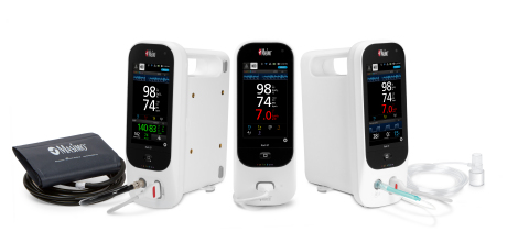 Masimo Rad-97™ Pulse CO-Oximeter® (center), Rad-97 with Integrated Noninvasive Blood Pressure (left), and Rad-97 with Integrated NomoLine™ Capnography (right) (Photo: Business Wire)