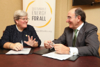 Iberdrola Chairman Ignacio S. Galán joins SEforAll CEO Rachel Kyte to support clean energy for everyone on the planet. (Photo: Business Wire)