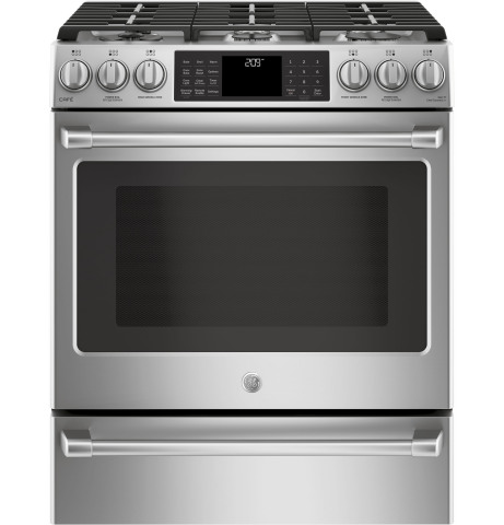 the gas and dual fuel ge caf      slide in model comes with six burners renovate your kitchen and your cooking with new ge appliances      rh   businesswire com