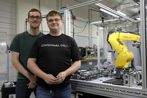 Madison College students Eric Laylan (L) and Chris Dalhoff win FANUC America's Automation Challenge  ...