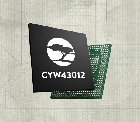 Pictured is Cypress' CYW43012 Combo Chip. (Photo: Business Wire)