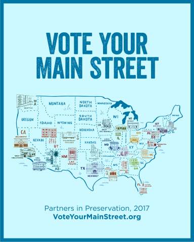 Partners in Preservation: Main Streets, will award $2 million in grants to Main Street districts in need of preservation support across America, as decided by public vote. For more information and to vote daily through October 31, visit VoteYourMainStreet.org.