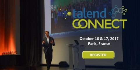 Mike Tuchen, CEO for Talend, takes center stage to discuss big data and cloud integration at the company's annual user conference on October 17th in Paris, France. (Graphic: Business Wire)