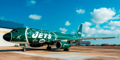 JetBlue, New York's Hometown Airline®, revealed a refreshed and updated special livery dedicated to the New York Jets.