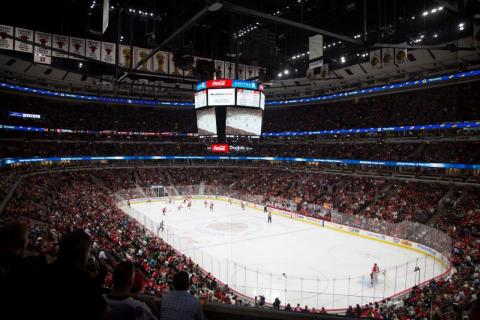 Eaton's Ephesus LED sports lighting system debuted at the United Center at last week's Thursday night Chicago Blackhawks pre-season game versus the Detroit Red Wings. (Photo: Business Wire)